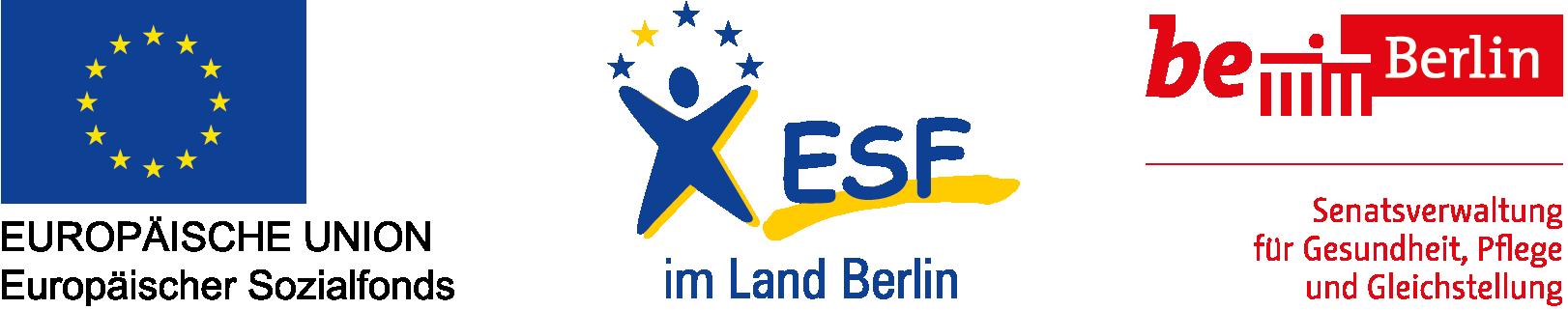 Gefördert aus Mitteln des Europäischen Sozialfonds und der Senatsverwaltung für Gesundheit, Pflege und Gleichstellung, Abteilung Frauen und Gleichstellung.